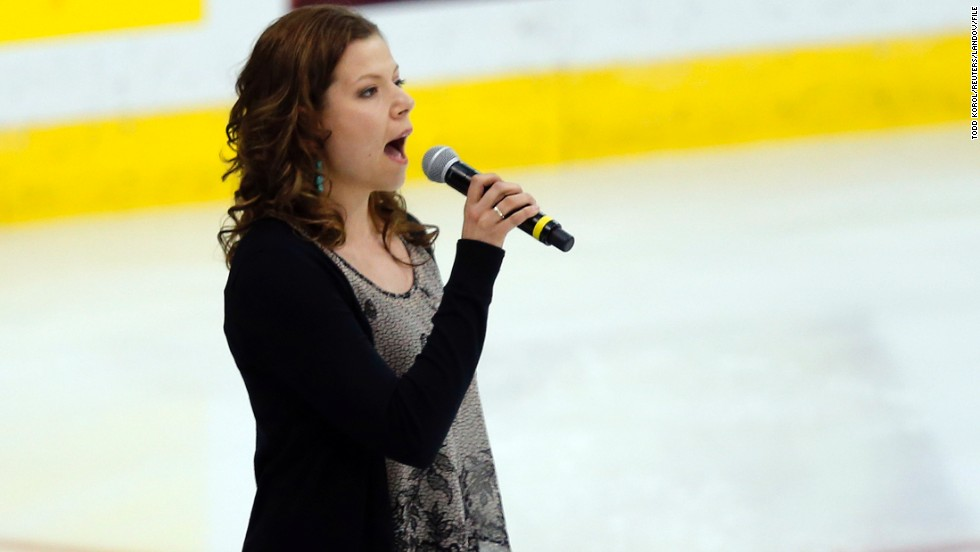 "Canadian singer Alexis Normand made headlines when she forgot the words to ""The Star-Spangled Banner"" at a hockey game in May 2013. Normand, pictured performing at a later game, <a href=""https://twitter.com/Alex6Normand"" target=""_blank"">tweeted she was sorry</a>."