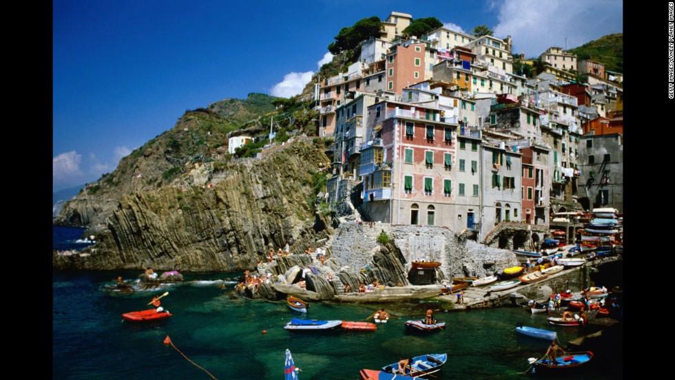 The Cinque Terre are the five picturesque villages of Riomaggiore (shown here), Monterosso al Mare, Vernazza, Corniglia and Manarola.