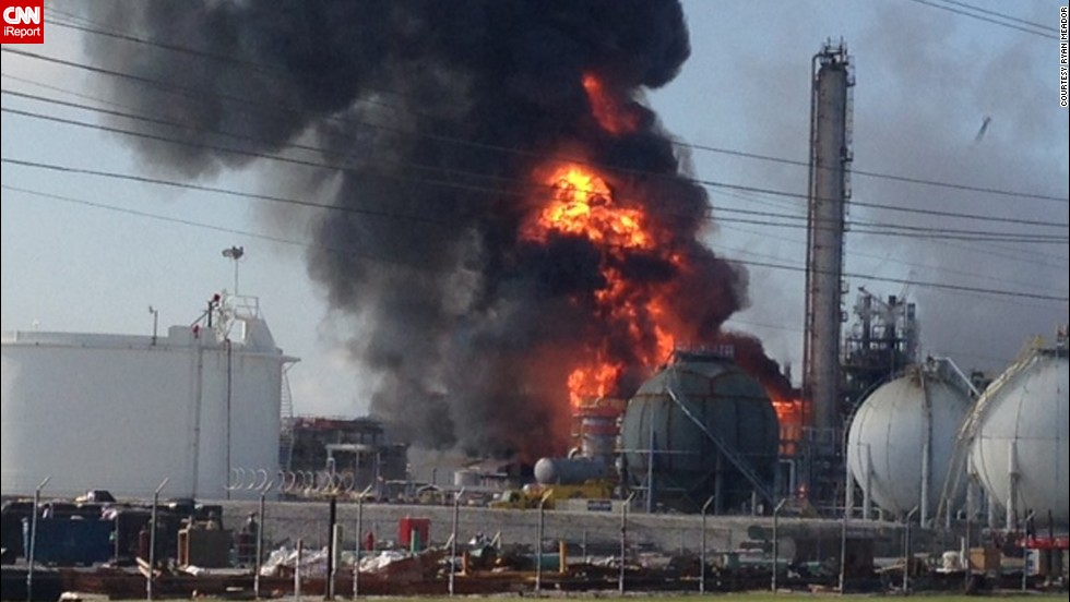 iReporter Ryan Meador took this photo moments after the explosion at the Williams Olefins plant in Geismar, Louisiana, as he was leaving the area on Thursday, June 13.