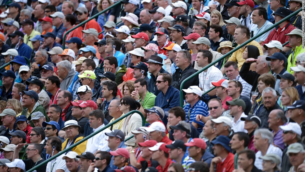 The gallery takes in the U.S. Open from the 17th hole at Merion Golf Club on June 13.