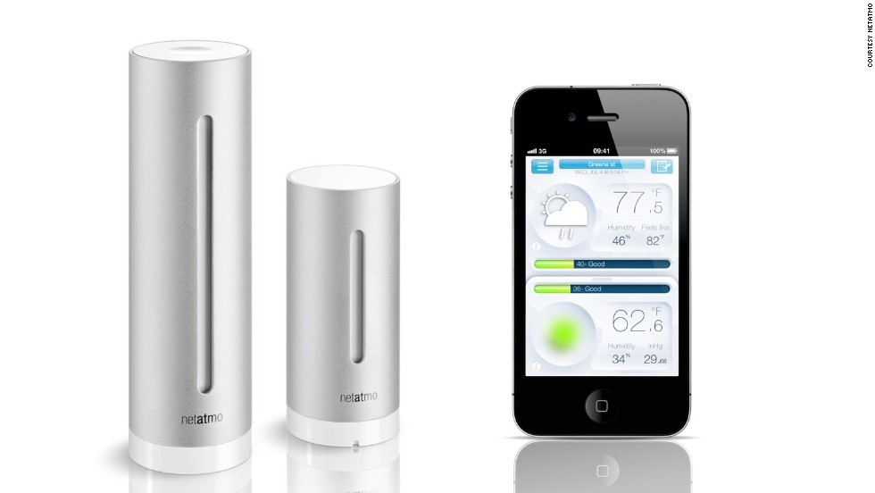 "This sleek device by <a href=""http://www.netatmo.com/en-US/site"" target=""_blank"">Netatmo</a> takes air quality, humidity, and carbon dioxide readings, indoor/outdoor temperature, and even noise pollution. It also sends notifications in real time via your iOS, or Android smartphone, or tablet."