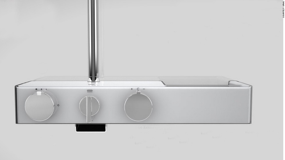 """With this <a href=""""http://www.oras.com/en/consumer/Pages/Default.aspx"""" target=""""_blank"""">Oras</a> Eterna smart shower, a green light indicates you beat the recommended two-minute splash and a red light shows you've showered beyond your share. A touch interface switches flow from showerhead to spout wash, and precise temperature adjustments ensure you won't scald or freeze."""