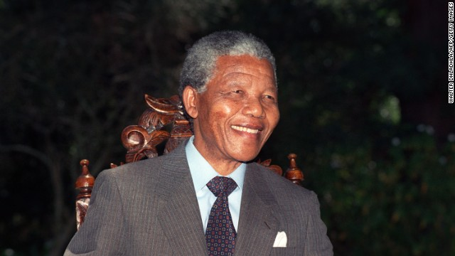 Nelson Mandela holds his first press conference after his release from jail, February 12,1990, in Cape Town, South Africa.