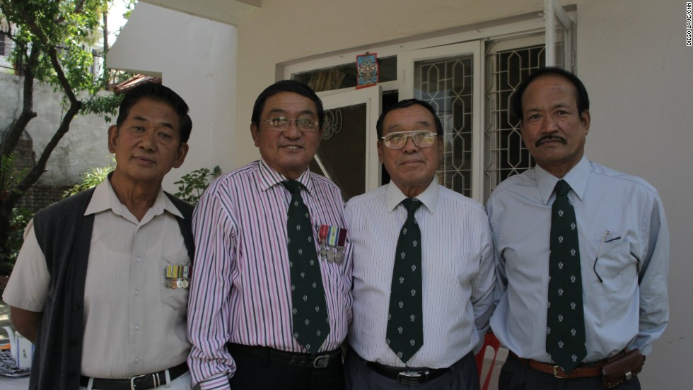 Friends and comrades: Former Gurkha soldiers Tamang, Limbu, Limbu and Kumar pictured together in Kathmandu recently.