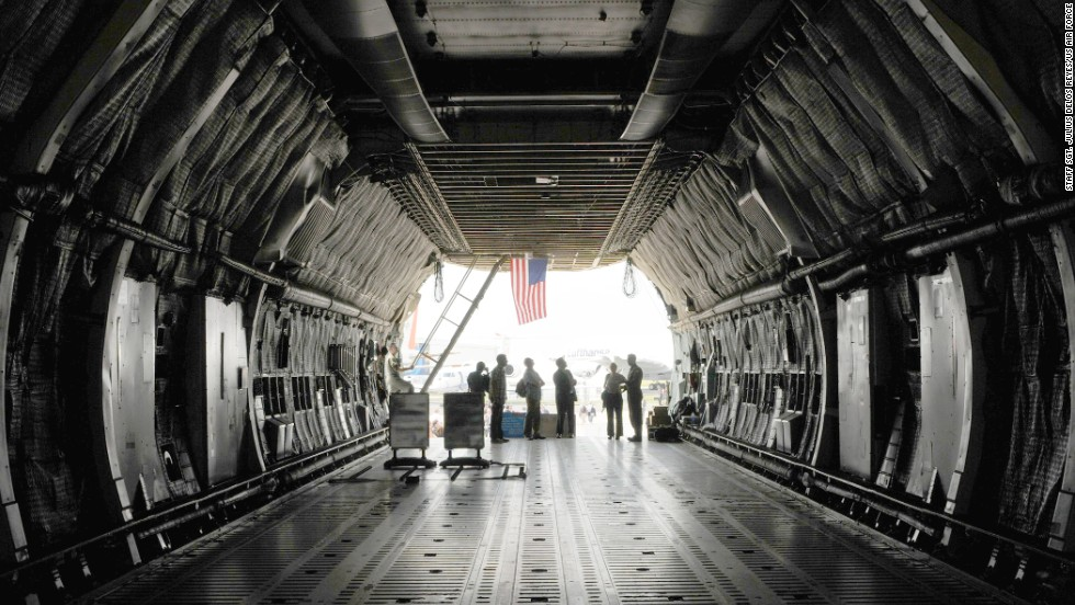 Chief Master Sgt. James Sims took part in the test from Zero-One-Four's 121-foot long cargo hold -- much like the one shown here. It was the best seat in the house, allowing him a vantage point for the entire operation.