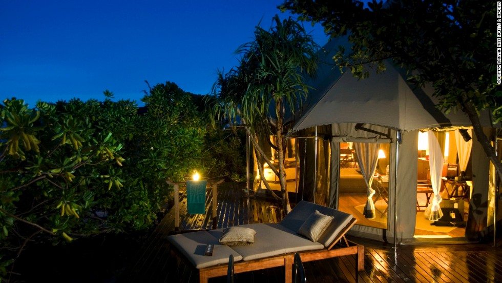 Rates for the resort's tent villas vary seasonally. Each villa includes a living tent, a sleeping tent and a bathing tent.