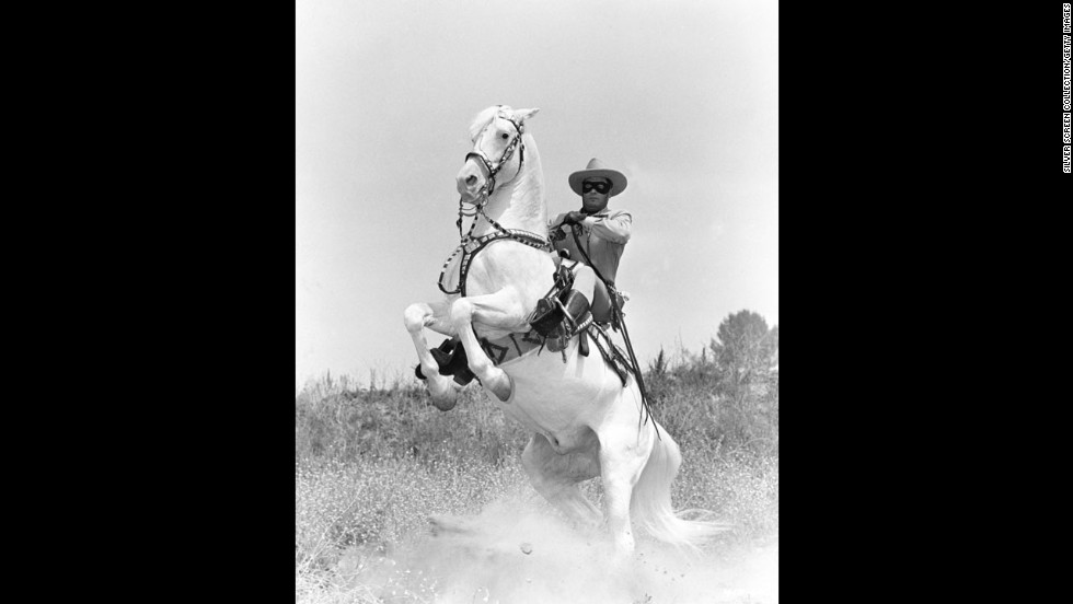 The Lone Ranger's horse Silver rears up in a publicity still, circa 1950.