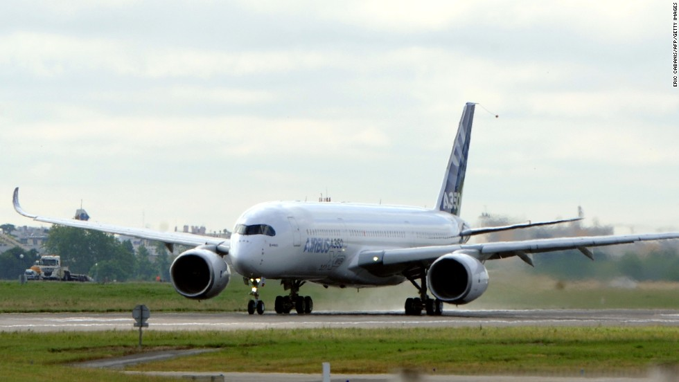 The next-generation A350 plane from Airbus takes off from Toulouse-Blagnac airport, southwestern France, on its first test flight on June 14, 2013. It was regarded as a milestone for an airliner that the firm hopes will challenge Boeing's 787 Dreamliner in the lucrative long-haul market.