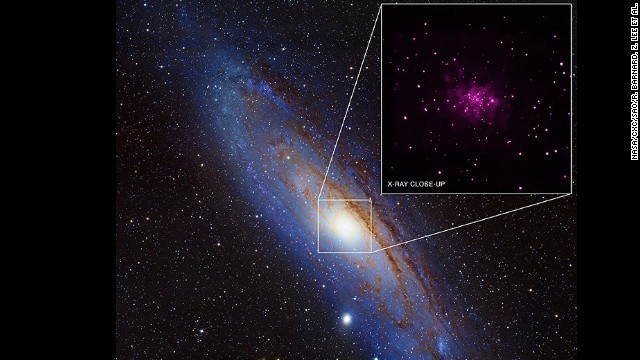 The Andromeda galaxy with an inset highlighting possible black holes. Credits: X-ray: NASA/CXC/SAO/R. Barnard, Z. Lee et al.; Optical: NOAO/AURA/NSF/REU Program/B. Schoening, V. Harvey and Descubre Foundation/CAHA/OAUV/DSA/V. Peris