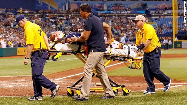 Pitcher Alex Cobb is taken off the field after being hit. The Tampa Bay franchise tweeted that Cobb remained conscious.