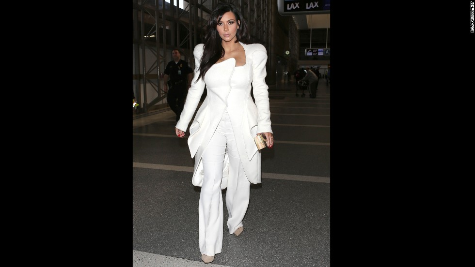This all-white structured suit raised some eyebrows in March.
