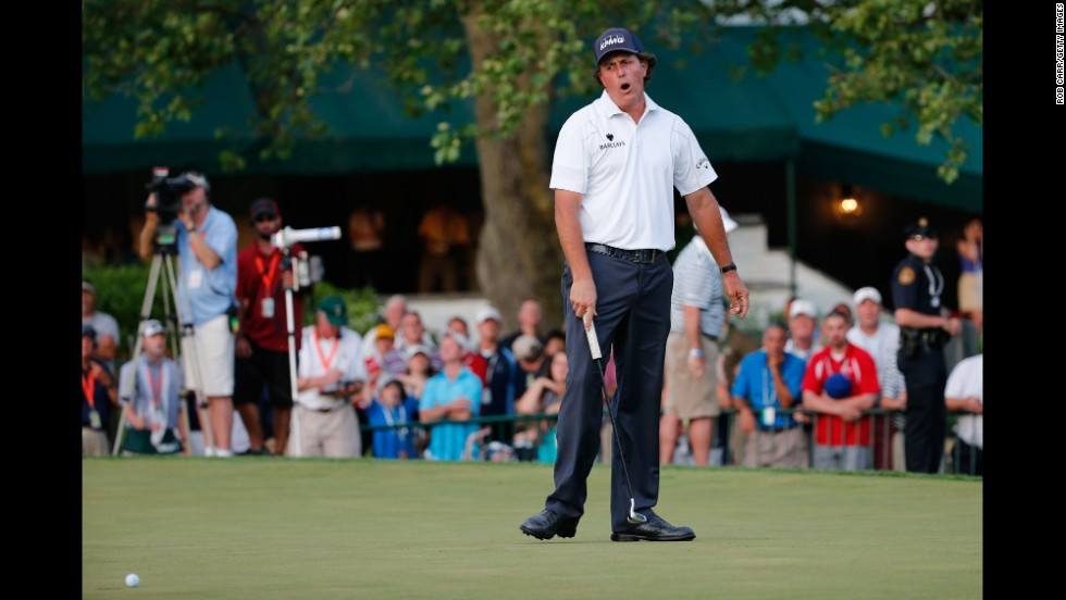 Phil Mickelson reacts on the 18th green  during round three of the 113th U.S. Open at Merion Golf Club on Saturday, June 15, in Ardmore, Pennsylvania.