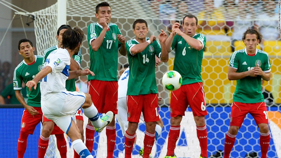 Andrea Pirlo celebrated his 100th appearance for Italy when he scored the opening goal from a free-kick.