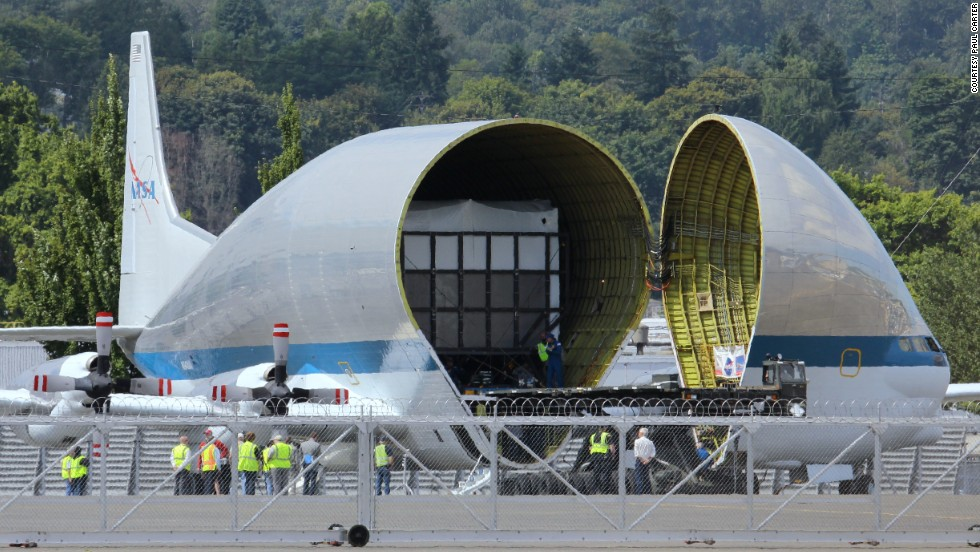 The Super Guppy includes a hinged nose that opens at more than a 200-degree angle. Its cargo hold measures 25 feet high, 25 feet wide and 111 feet long. Maximum payload: more than 26 tons.