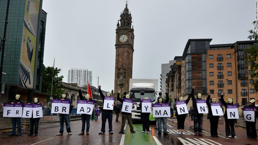 "Protesters wearing Guy Fawkes masks on June 15 in Belfast hold placards spelling out the message ""Free Bradley Manning,"" referring to the U.S. soldier <a href=""http://www.cnn.com/2013/06/02/us/manning-court-martial/index.html"">who has admitted</a> passing sensitive U.S. government material to the leak website WikiLeaks."