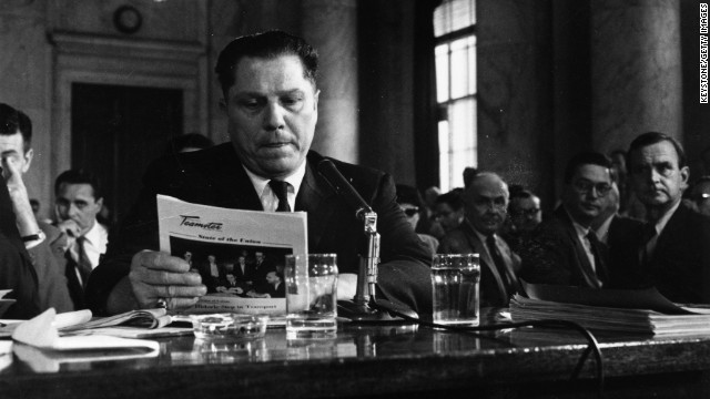 11th August 1958: American labour leader Jimmy Hoffa (1913 - 1975), President of the Teamster's Union, testifying at a hearing into labor rackets. Rumoured to have mafia connections, Hoffa disappeared in 1975 and no body has ever been found. (Photo by Keystone/Getty Images)