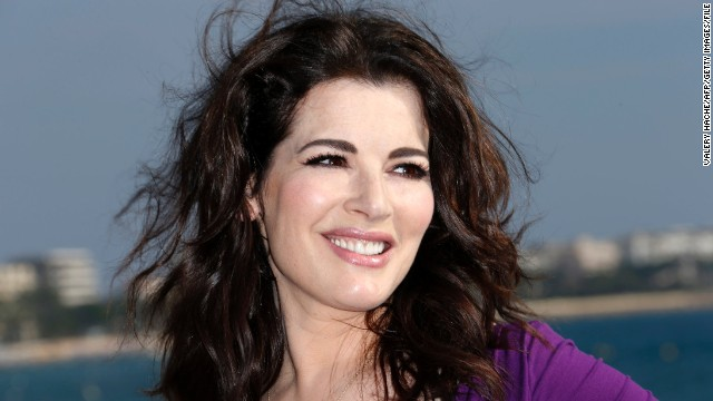 British TV chef Nigella Lawson poses during a photocall for the television show 'Nigellissima.'