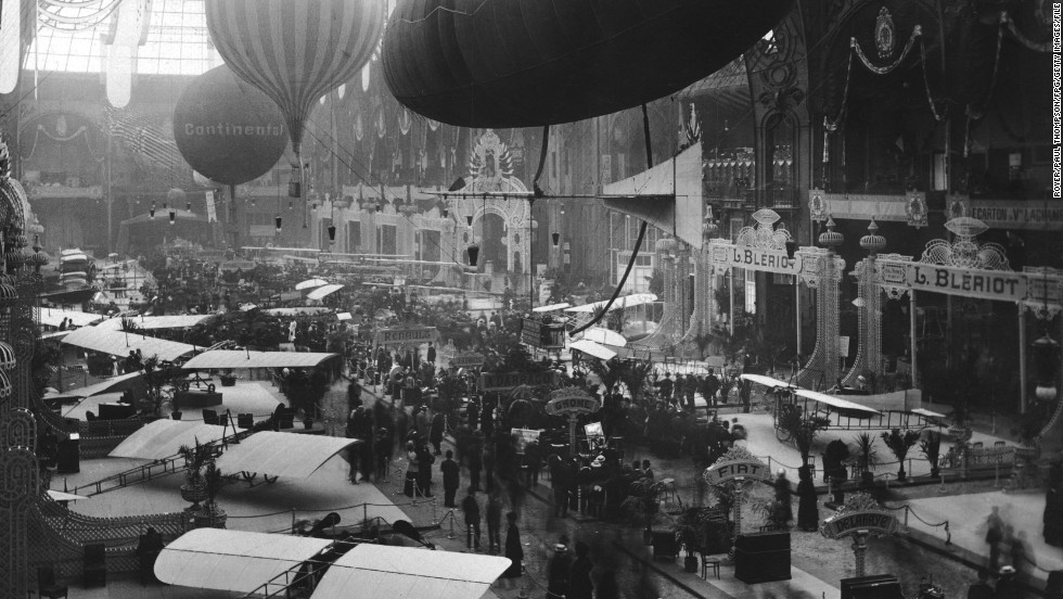 The Paris Airshow held at the Grand Palais in Paris, France circa 1909.