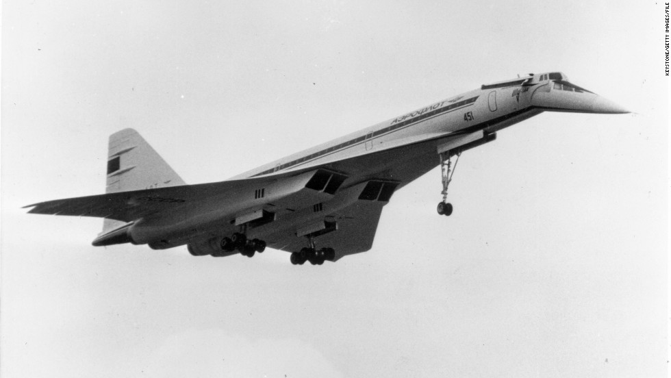The ill-fated Russian TU-144 supersonic airliner shortly before it crashed during a display at the Paris International Airshow. The accident killed six crew and nine people on the ground on June 3, 1973.