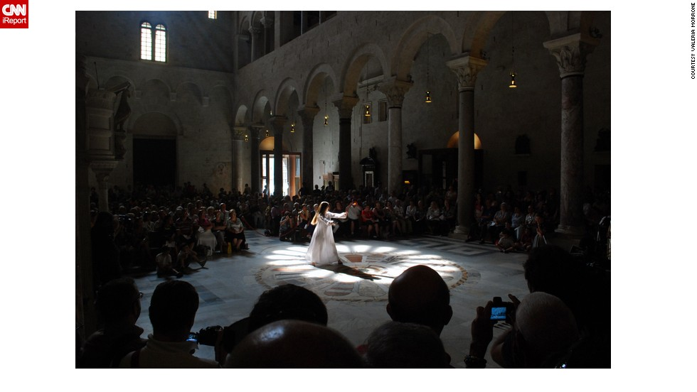 """<a href=""""http://www.flickr.com/photos/11983943@N02/ """" target=""""_blank"""">Valeria85</a> took this photo in the cathedral of Bari, Italy. She says that only during summer solstice does the light coming from the ceiling align perfectly onto the special mosaic pattern. Watching this """"game of light"""" in the cathedral has been her midsummer tradition for a couple of years and she will be there again this year."""