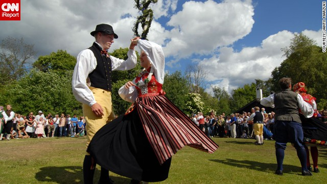 A traditional midsummer celebration in Stockholm, Sweden