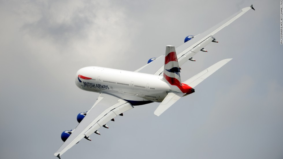 A British Airlines Airbus A380 flies over Le Bourget airport on June 18, 2013 during the 50th International Paris Airshow.