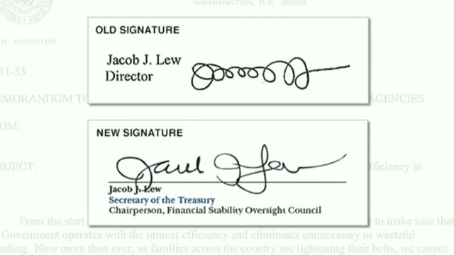 Jack Lew has new signature for bills