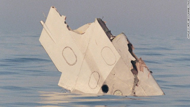 A wing section of TWA Flight 800 floats in the Atlantic Ocean off Long Island, New York, in July 1996.