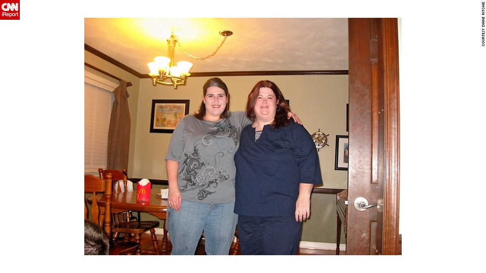 In February 2011, the friends were excited about having lost around 20 pounds each. Ritchie, left, then living in Chicago, and Moyer, who was in Virginia,offered each other support and encouragement via daily phone calls and occasional visits.