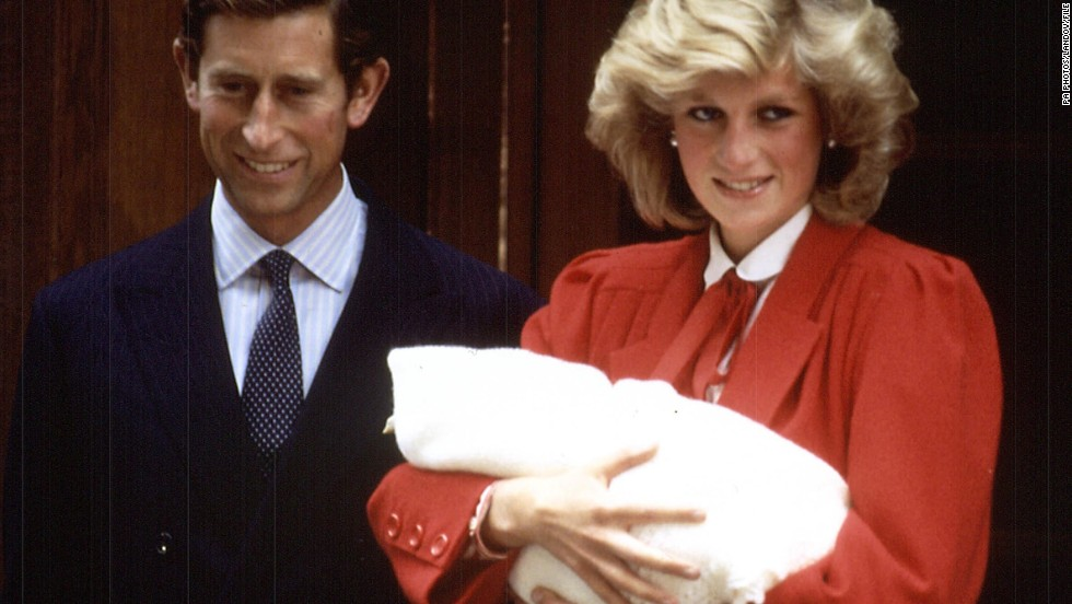 Charles and Diana are photographed on September 16, 1984, following the birth of their second son, Prince Harry, at St. Mary's Hospital.