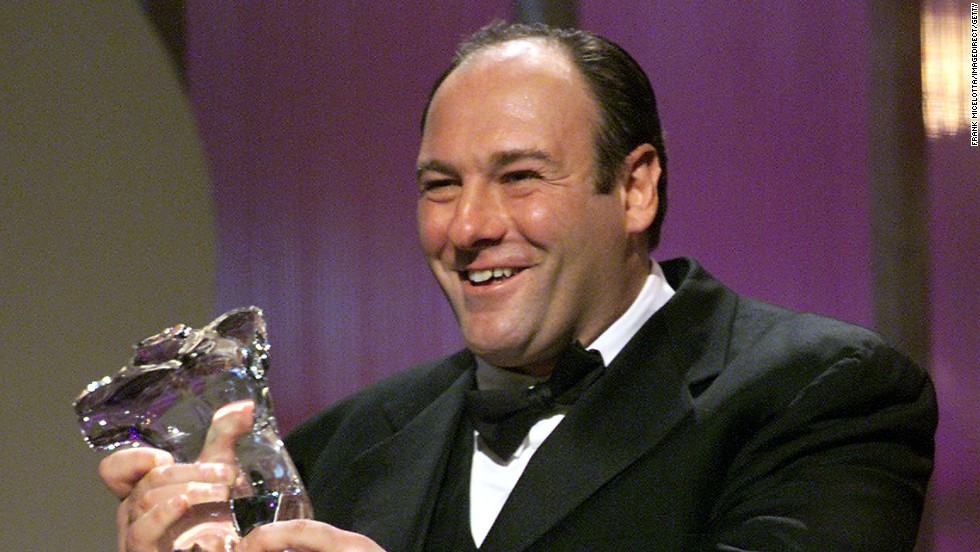 Gandolfini accepts the Television Drama Award at the GQ Men of the Year Awards in 2000.