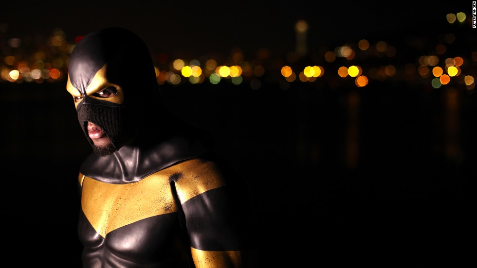 "Phoenix Jones, a Seattle real life superhero, patrols the city streets at night dressed in a $10,000 bulletproof, Kevlar reinforced supersuit. He leads a global network of superheroes called The Alliance, with members in New York, London and Dubai. The so-called ""Guardian of Seattle"" has been shot at and stabbed twice, but <a href=""http://www.cbsnews.com/8301-504083_162-20027464-504083.html"" target=""_blank"">has also been documented stopping crimes.</a>"