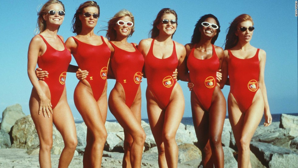 "The leggy lifeguards on the television show ""Baywatch"" made these tank-style one-piece bathing suits a staple of 1990s television."