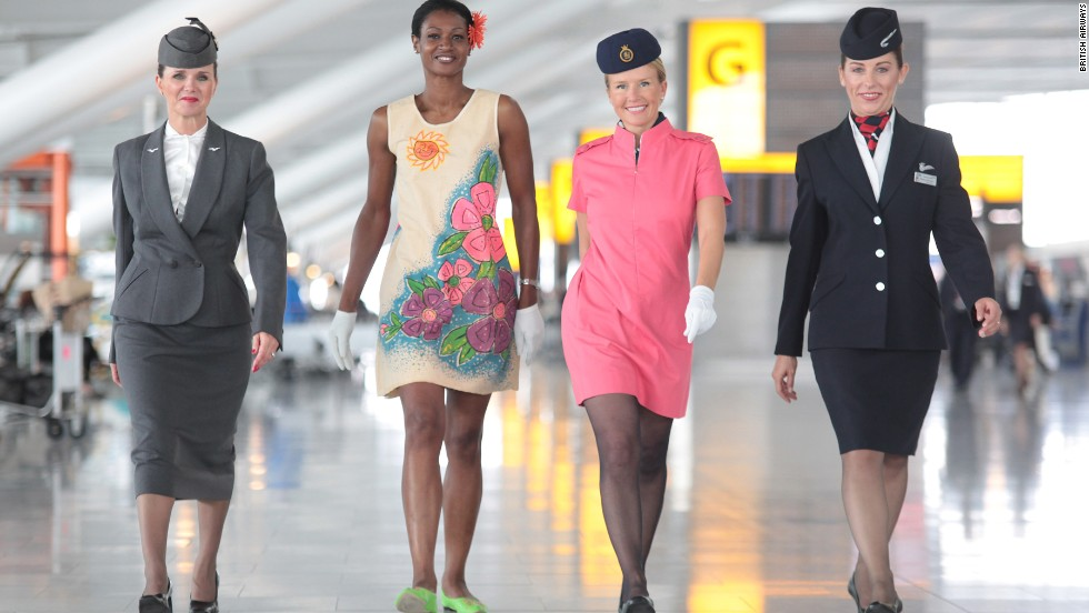 Julien Macdonald -- formerly the artistic director of French fashion house Givenchy -- redesigned the uniforms for British Airways in 2004. The outfits (depicted far right) are still the standard uniform for the carrier. Milliner Stephen Jones designed the headpieces.