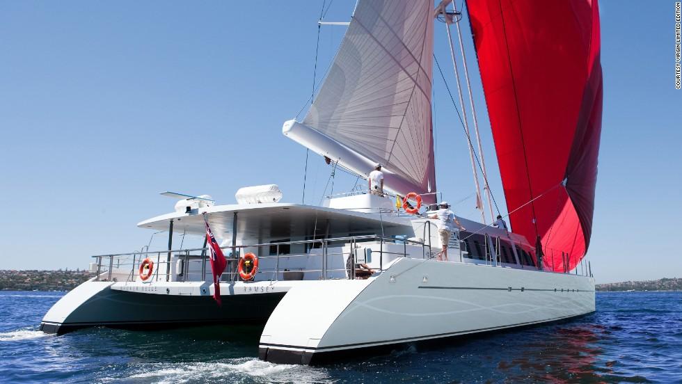 Business magnate Richard Branson's elegant 32-meter catamaran includes four luxury suites, a roof-top diving board and scuba equipment.