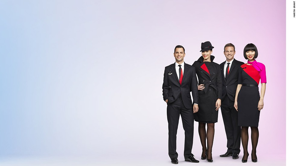 Australian designer Martin Grant redesigned the uniforms for Qantas Airways cabin crew. The outfits launched April 2013. Grant tried to imbue the outfits with the type of old-world glamor once associated with flight.