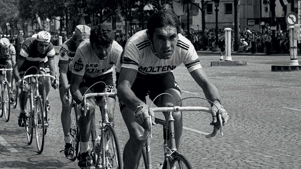 Belgian Eddy Merckx dominated the Tour de France and other major cycling races for nearly a decade -- here leading the peloton when riding on the cobbles of the Champs Elysees for the first time in 1975