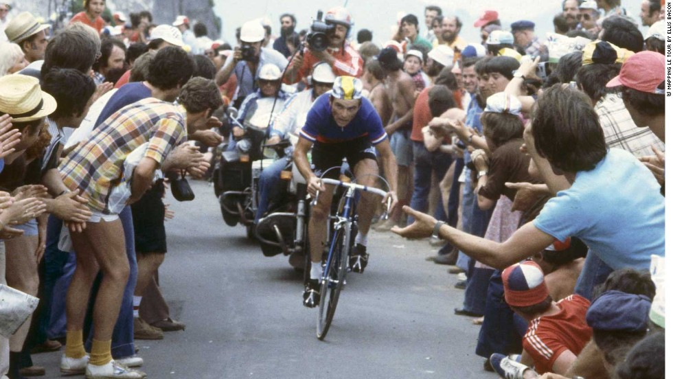 Famous French cyclist Bernard Hinault on the Puy de Dome in 1978 as he claimed the first of five wins in the famous race.