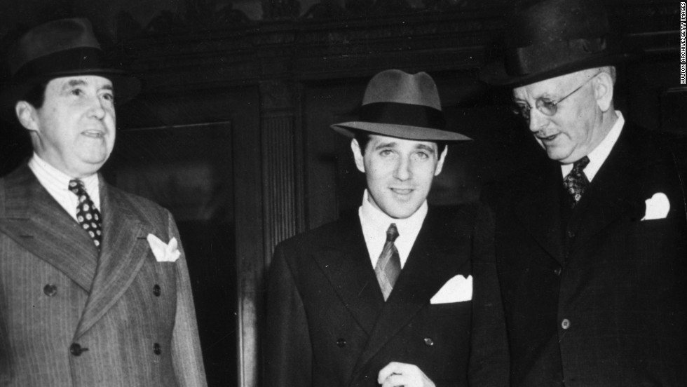 "Benjamin ""Bugsy"" Siegel, at center with two unidentified men, established crime syndicate-controlled gambling in Las Vegas."