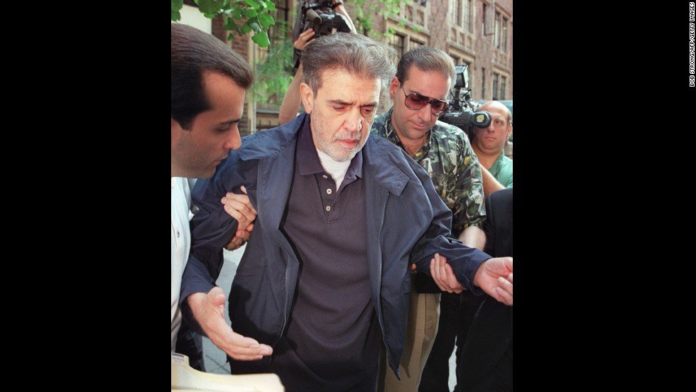 "Vinny ""The Chin"" Gigante, shown here in 1997 while on trial in New York. Before his conviction for murder conspiracy and labor racketeering, Gigante was famous for mumbling to himself while walking the streets of Manhattan in a bathrobe. In 2003, he pleaded guilty to obstruction of justice charges for false claims of mental illness."