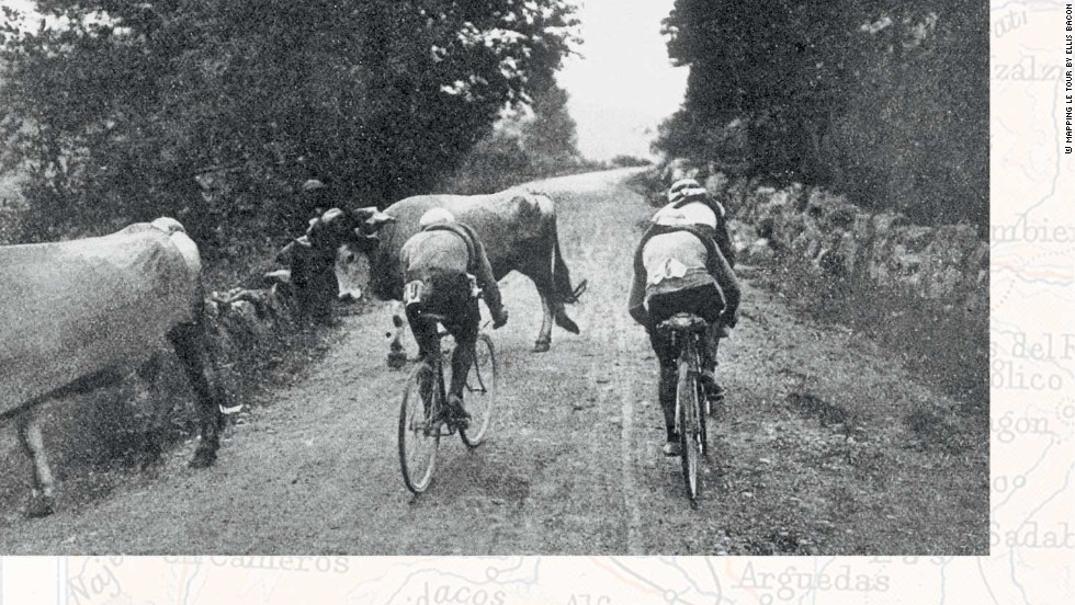 Riders tackle the first Pyrenean climb -- the Col de Portet d'Aspet -- in 1910. France's Octave Lapize was first over the top and won the race. But in 1995 the Col was the scene of tragedy as Italian Fabio Casartelli died after a crash on the descent.   <br />