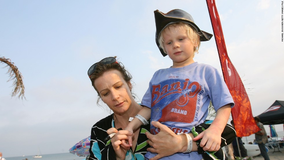 "At least Rachel Griffiths didn't settle on ""Guitar."" That doesn't roll off the tongue quite as well as the name she gave her son, seen here in 2007, Banjo."