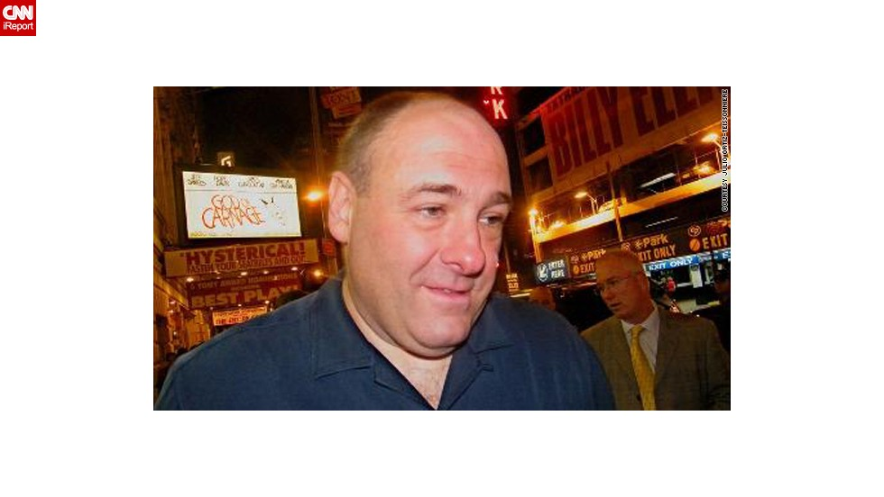 """<a href=""""http://ireport.cnn.com/docs/DOC-267235"""">Julio Ortiz-Teissonniere </a>met Gandolfini outside of his Broadway show, """"God of Carnage,"""" in 2009.""""I thought how cool it was when he spoke to a former classmate of his that was standing next to me waiting to get his autograph. He remembered her and he even asked about another classmate."""""""