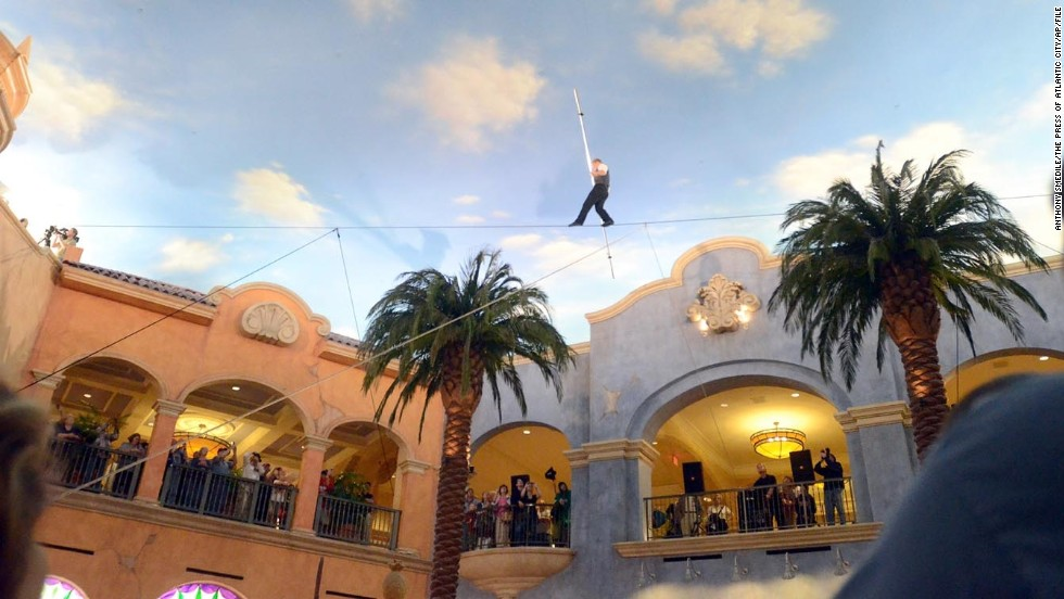 Wallenda crosses the Fiesta Plaza in The Quarter at the Tropicana Casino and Resort in Atlantic City in April 2011.