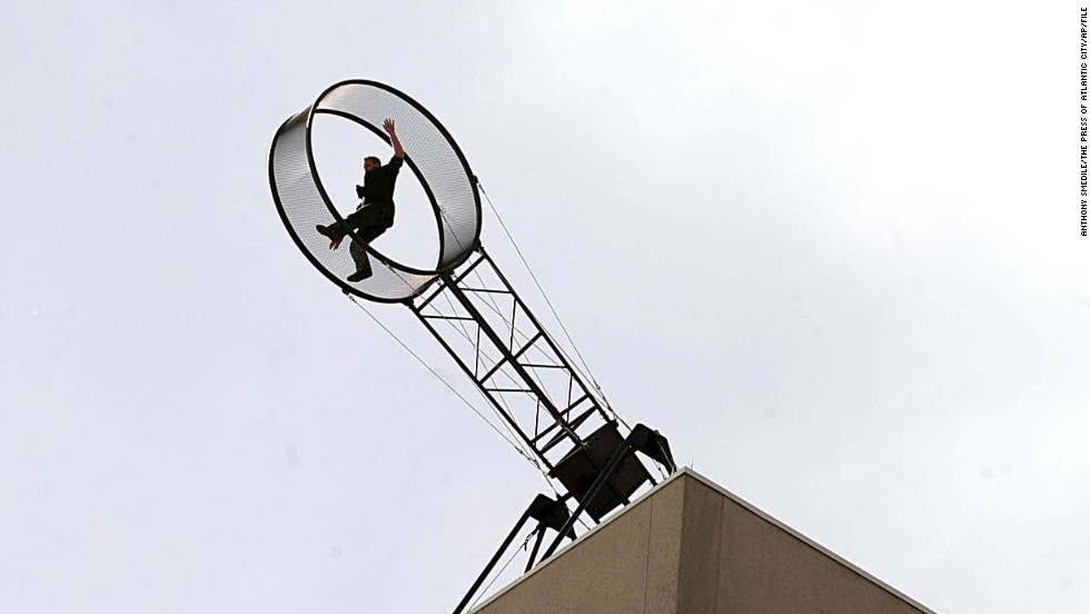 "Wallenda performs a ""Wheel of Death"" stunt at the Tropicana Casino and Resort in Atlantic City in April 2011."