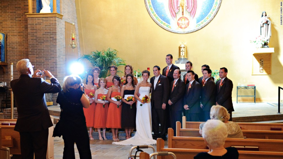 When more than one person is taking pictures of the wedding party, eyes go all over the place, wedding photographer Corey Ann Balazowich said. In this image, everyone kept glancing over Balazowich's shoulder at the man behind her, making it hard to get one shot of everyone looking at her.