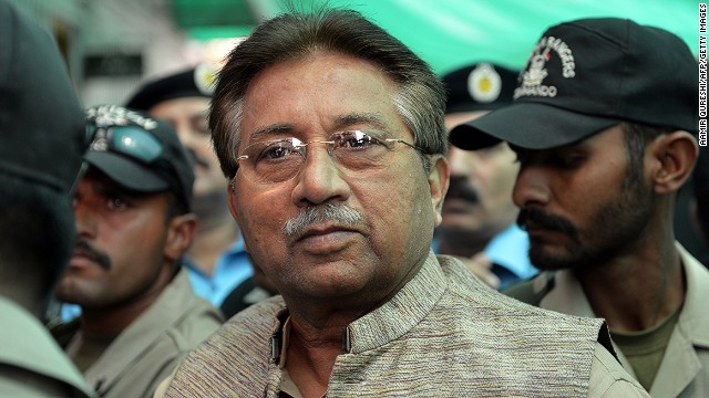 Former Pakistani president Pervez Musharraf arrives at an anti-terrorism court in Islamabad on April 20, 2013.