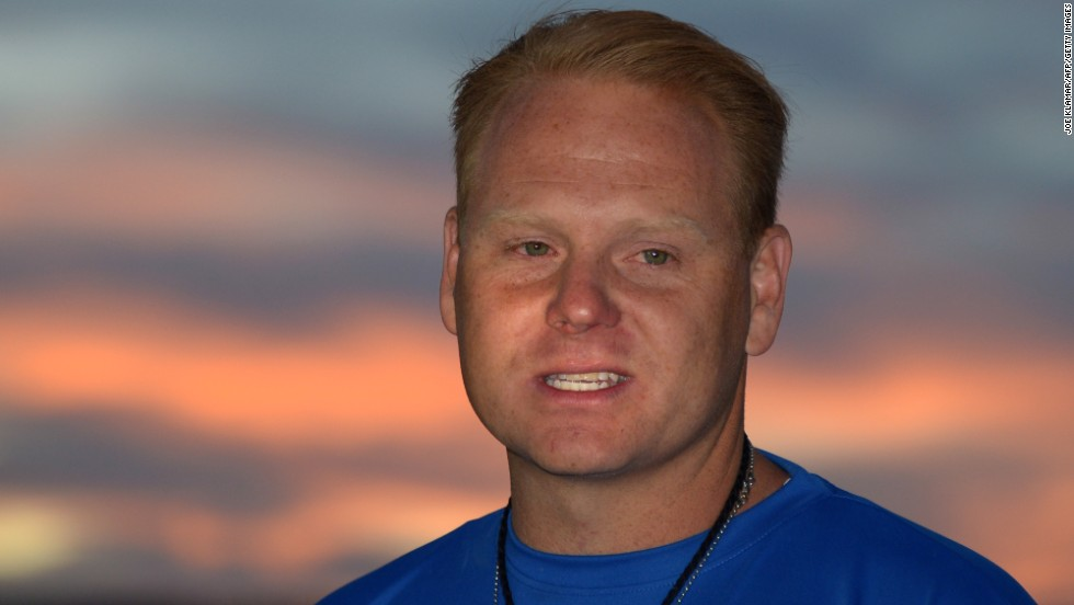 Wallenda speaks at a press conference after becoming the first person to traverse the gorge near the Grand Canyon.