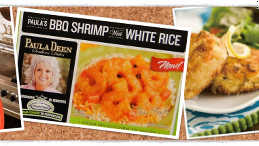 Gobo Seafood sells Paula Deen Southern Dishes -- like Savannah crab cakes, seafood dip, seafood stews, crab stuffed seafood, fried shrimp, and catfish -- at grocery stores nationwide. The relationship began in 2009 and recipes are adapted from Deen's popular dishes at The Lady & Sons restaurant.