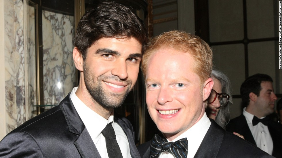 "Attorney Justin Mikita, left, and ""Modern Family"" star Jesse Tyler Ferguson announced their engagement in 2012 via their website <a href=""http://tietheknot.org/"" target=""_blank"">tietheknot.org</a> and then married in July 2013. Their foundation sells ties with the proceeds going to organizations that support same-sex marriage. The pair have been outspoken <a href=""http://www.cnn.com/2012/11/15/showbiz/celebrity-news-gossip/jesse-tyler-ferguson-tie-knot/index.html"" target=""_blank"">about their advocacy. </a>"